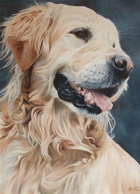 golden retriever portrait painting on canvas