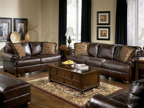 Livingroom Set by Prestige Traditional Genuine Brown Leather Large Sofa