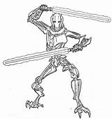 Coloring Wars Yoda Coloringkids Awesome General Grievous sketch template