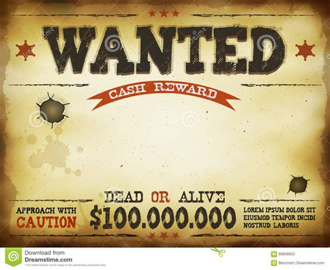 wanted dead or alive poster template free wanted vintage western poster stock vector image 85846652