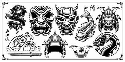 Samurai Vector Clipart Clip Elements Illustrations Japanese