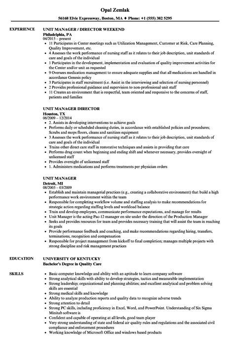 unit manager resume samples velvet jobs