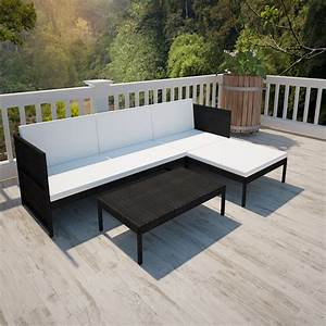 Rattan Lounge Set : black black outdoor poly rattan lounge set three seat sofa ~ Orissabook.com Haus und Dekorationen