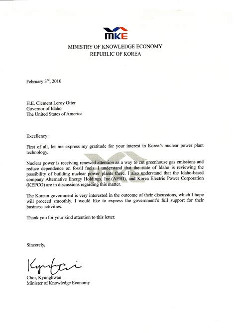 business letter format government official sample