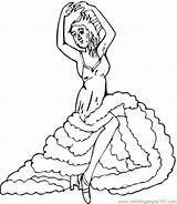 Flamenco Coloring Pages Spain Dancers Spanish sketch template