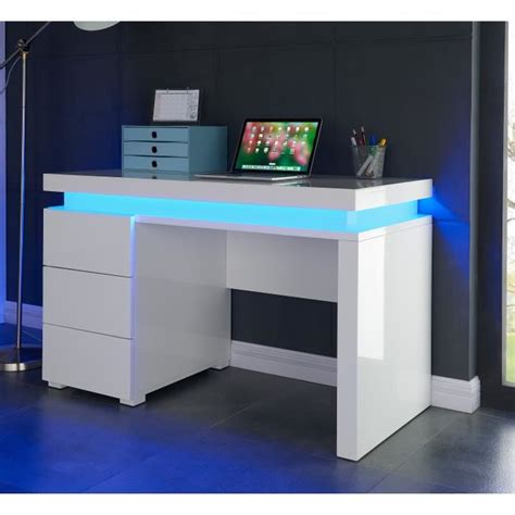 bureau blanc brillant flash bureau contemporain blanc brillant l 120 cm