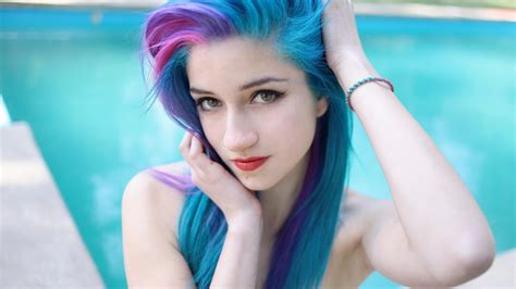 Beautiful Girl With Long Blue Hair Wallpapers And Images