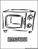 Coloring Oven Kitchen Microwave Pages Printable Colouring Template Print sketch template