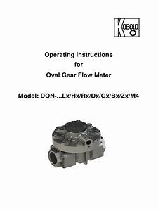 Operating Instructions For Oval Gear Flow Meter