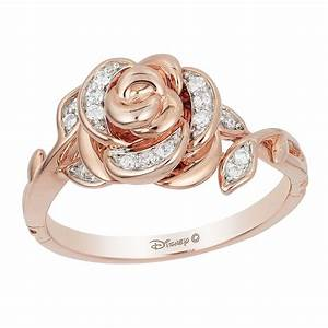 enchanted disney 9ct rose gold 1 10 carat diamond belle With belle wedding ring