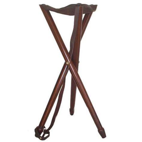 tabouret pliant si 232 ge trepied haut en bois et cuir pas cher