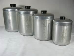 black kitchen canister set vintage aluminum canisters retro 50s canister set 4