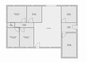 cuisine plan maison plain pied forme u plan de maison en With plan de maison en u gratuit