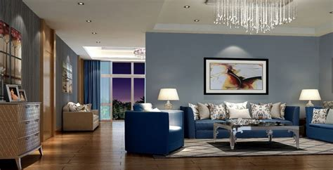 Modern And Stylish Living Room Design With Trendy Blue Sofa