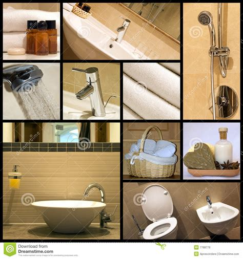 modern bathroom collage royalty  stock images