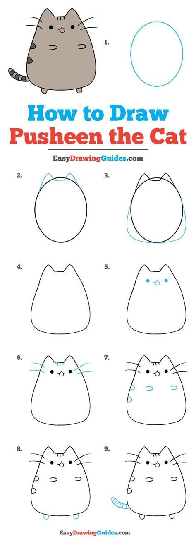 draw pusheen  cat  easy drawing tutorial