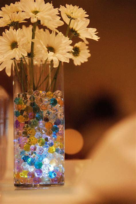 water beads with submersable lights as centerpieces