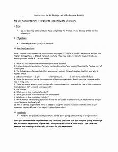 Instructions For Ap Biology Lab  13 U2014enzyme Activity Pre