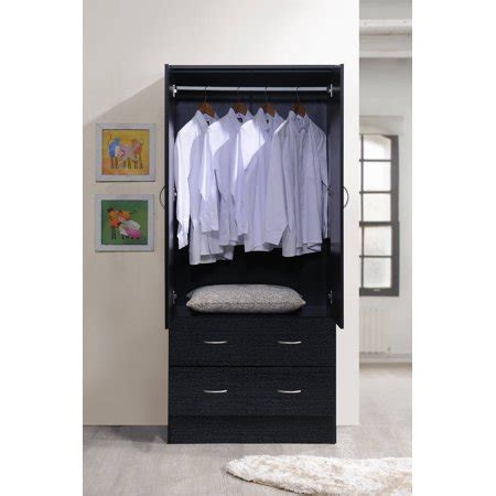 Wardrobe With Drawers And Hanging by Hodedah Two Door Wardrobe With Two Drawers And Hanging Rod