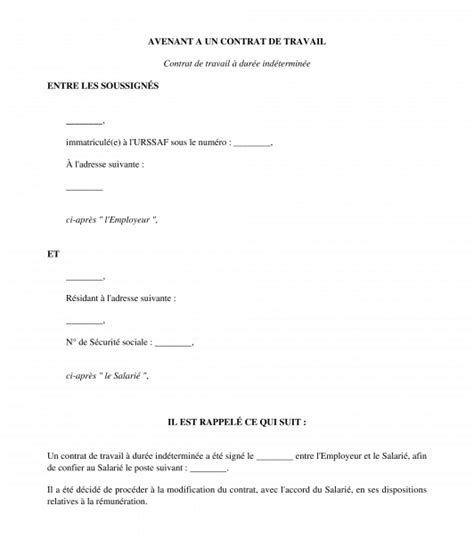Modification De Salaire by Avenant Au Contrat De Travail R 233 Mun 233 Ration Mod 232 Le