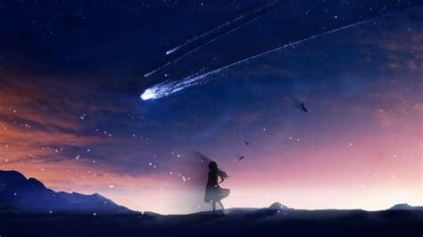 Anime Wallpaper 1280x720 - 1280x720 anime falling scenic birds