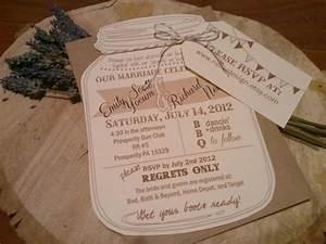 mason jar wedding invitations with rvsp luggage tag and With diy wedding invitations luggage tag
