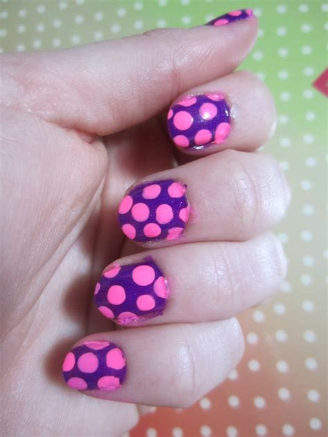 Design Purple And Pink by Nail Designs Purple With Pink Polka Dots
