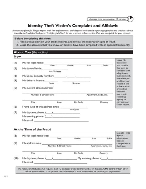 affidavit of identity theft form identity theft affidavit california free download