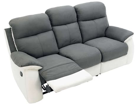 canap 233 fixe 3 places dont 2 relaxation manuel en tissu white coloris gris blanc vente de