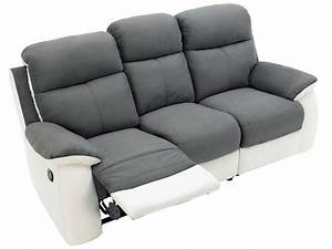 canape fixe 3 places dont 2 relaxation manuel en tissu With tapis de gym avec canapé relax 2 5 places