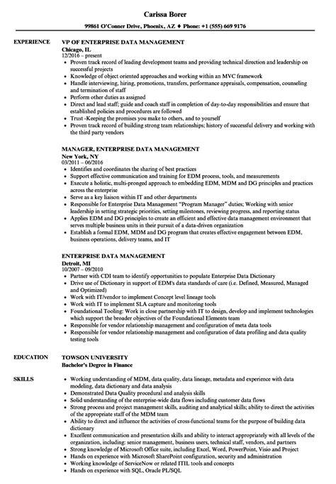 Data Management Resume Sle by Enterprise Data Management Resume Sles Velvet