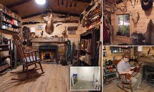 Alabama man converts drab basement into authentic log