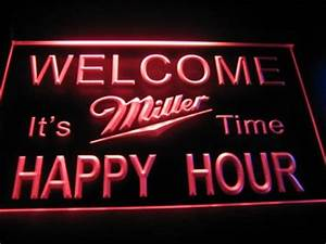 Happy Hour Wel e Miller Beer Bar Light Sign Neon B523