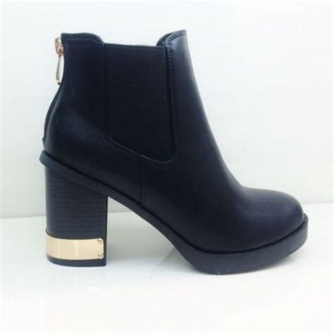 heeled black leather ankle bootsts boots cute ankle