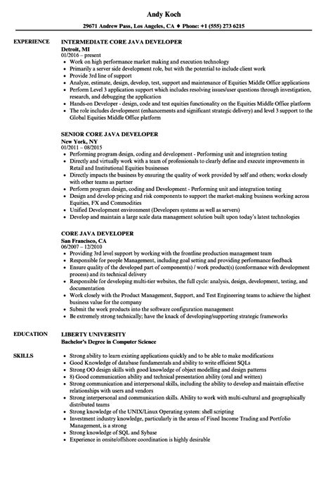 java developer resume sles velvet