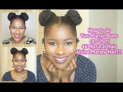 Two Buns On Short Natural Hair