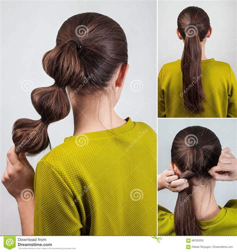 simple hairstyle tutorial stock photo image 68760203