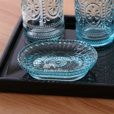 cheap blue glass soap dish carved ovalrectangular shaped