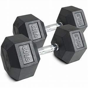 Pair 60 Lb Black Rubber Coated Hex Dumbbells Weight Training Set 120 Lb Fitness