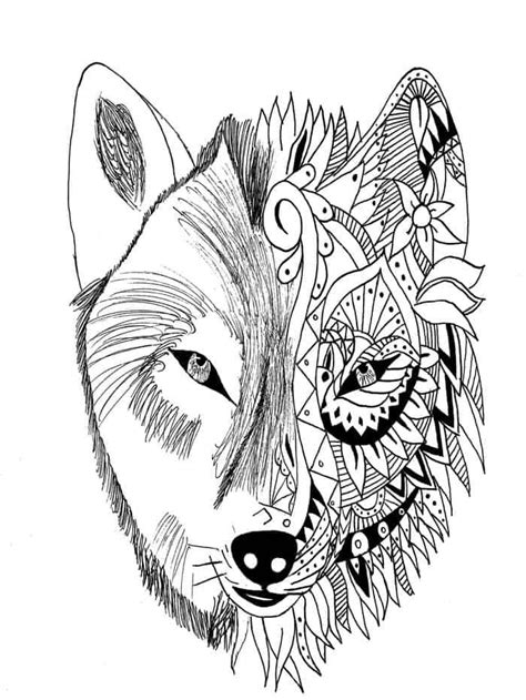 Tribal Wolf Coloring Pages from Printable Wolf Coloring Pages Collection. Wolves are nocturnal a