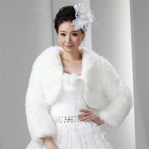 Short White Artificial Fur Bolero With Long Sleeves Women