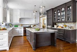 Classic Looks For Kitchens White Paint And Dark Stain