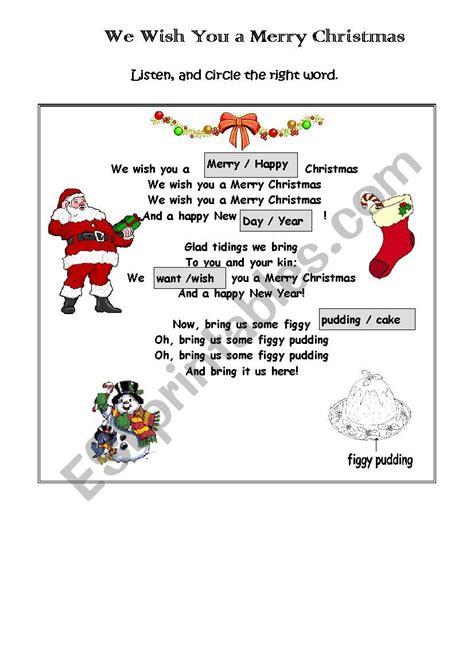 we wish you a merry christmas esl worksheet by busanite