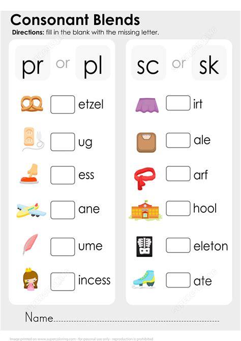 consonant blends worksheet free printable puzzle