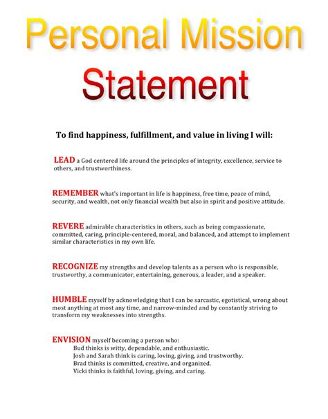 mission statement template my personal mission statement leadtoday