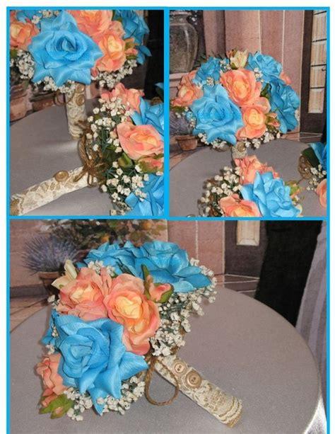 Rustic Malibu And Coral Bridal Bouquet Silk Malibu And Coral