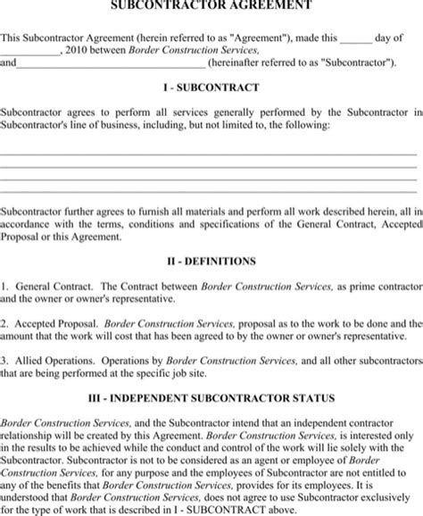 Subcontractors Agreement Template by Subcontractor Agreement For Free Formtemplate