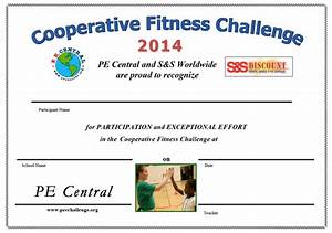 Sample Content Of Certificate Of Appreciation Cooperative Fitness Challenge From Pe Central