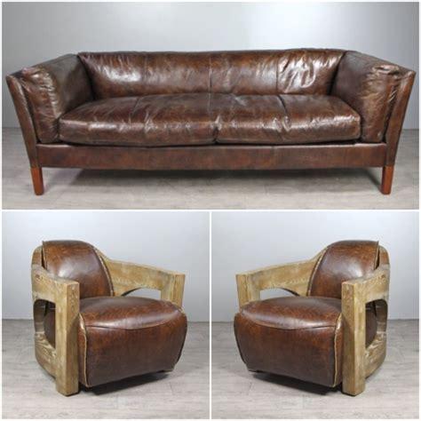 canapé 2 fauteuils canapé cuir marron vintage avec 2 fauteuils cuir et