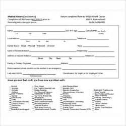 Sample Medical History Form